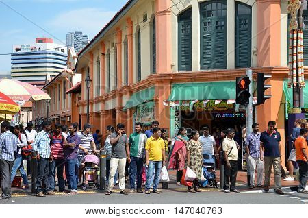 SINGAPORE- 11 SEP 2016: Little India district on Sep 11 2015 in Singapore. Little India is Singaporean neighbourhood east of the Singapore River