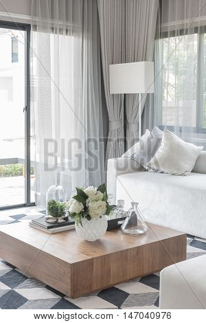 Luxury White Sofa With Pillows Set In Living Room