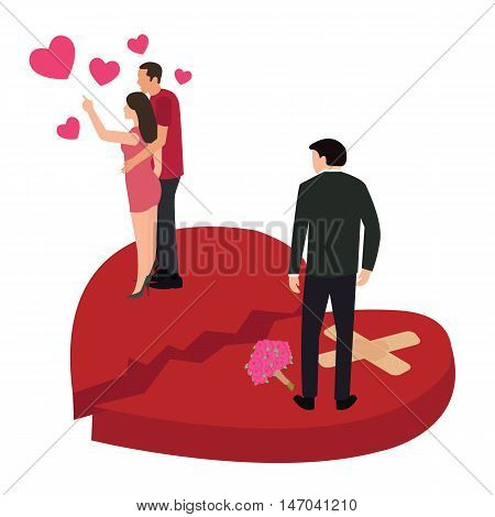 broken heart woman with another man vector cheating