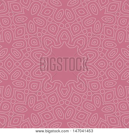 Circle ornamental geometric arabic pattern on pink background