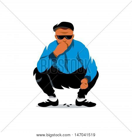 Boy squatting. Isolated on a white background