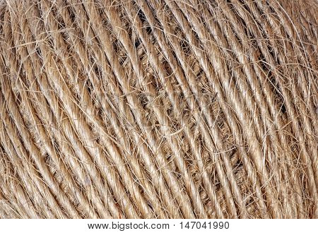 Patterns And Textures On Roll Of String Twine
