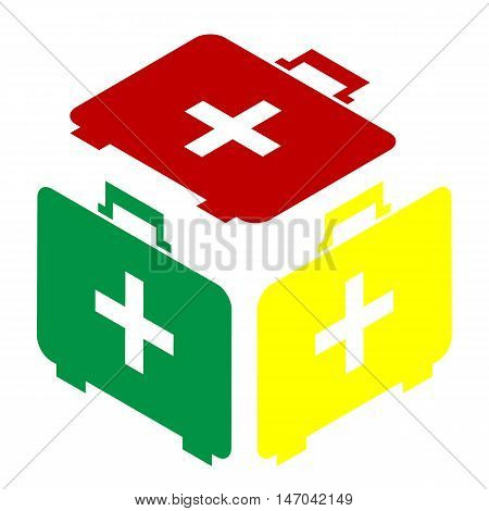 Medical First Aid Box Sign. Isometric Style Of Red, Green And Yellow Icon.