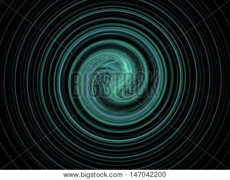 Abstract round blue circles fractal on black background