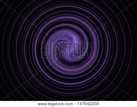 Abstract round purple circles fractal on black background