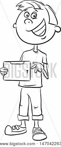 Boy With Tablet Coloring Book