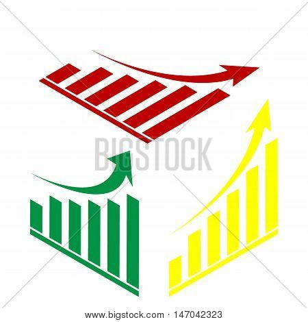 Growing Graph Sign. Isometric Style Of Red, Green And Yellow Icon.