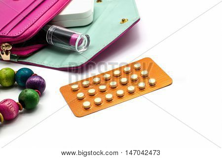 Oral Contraceptive Pills, Blisters Of Birth-control Pills With Woman Stuff.