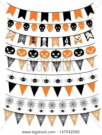 Vector set of Halloween banners and buntings with pumpkins, skulls and spiders.