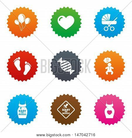 Pregnancy, maternity and baby care icons. Newborn, strollers and pacifier signs. Footprint, candy and love symbols. Stars label button with flat icons. Vector