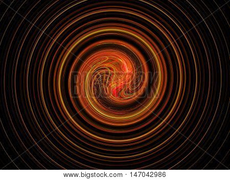 Abstract round golden bright circles fractal on black background