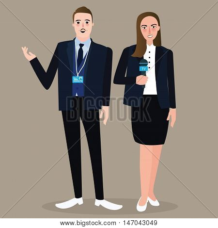 news anchor man woman standing holding microphone wearing formal suit press vector