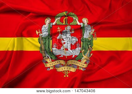 Waving Flag Of Vilnius With Coat Of Arms, Lithuania
