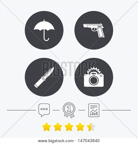 Gun weapon icon.Knife, umbrella and photo camera with flash signs. Edged hunting equipment. Prohibition objects. Chat, award medal and report linear icons. Star vote ranking. Vector