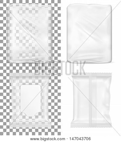 Transparent empty plastic packaging and wet wipes package with flap for toilet paper and cosmetics.