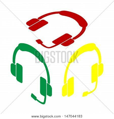 Support Sign Illustration. Isometric Style Of Red, Green And Yellow Icon.