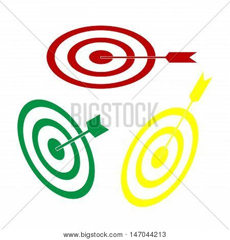 Target With Dart. Isometric Style Of Red, Green And Yellow Icon.