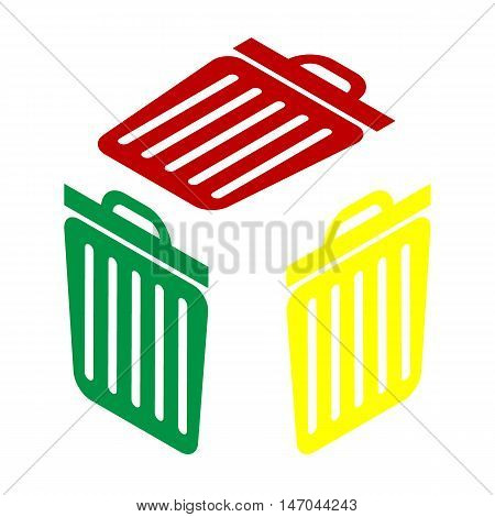 Trash Sign Illustration. Isometric Style Of Red, Green And Yellow Icon.