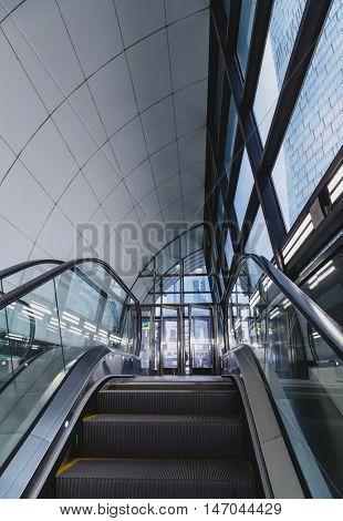 Modern escalator in the city