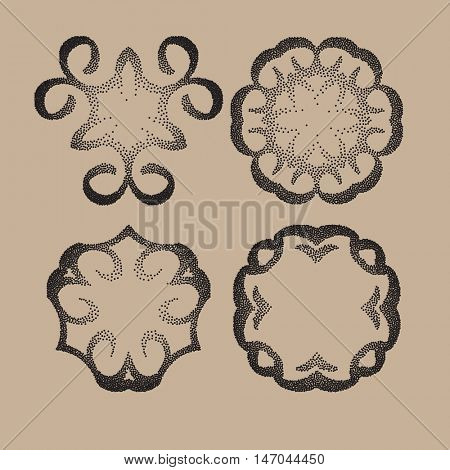 Vector dotted pattern frame or a gravure style ornament. dusty grunge dotted elements isolated on background