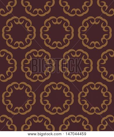 Retro seamless vector illustrations. Abstract shapes and decorative flowers on dark background on antique interior wall