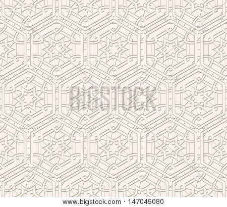 Paper pattern with shadow. Arabesque decoration. Perforated illustration. Openwork design. Vintage backdrop. Arabian wallpaper. Eastern art. Islamic background. Ethnic print. Retro ornament. Vector.