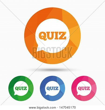 Quiz speech bubble sign icon. Questions and answers game symbol. Triangular low poly button with flat icon. Vector