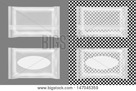 Transparent wet wipes package with flap. Mock up design.