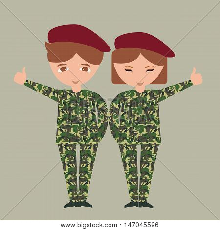 two kids children wearing military uniform army camouflage costume patriotic with hat vector