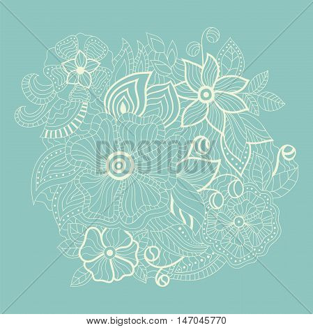 White abstract contour flowers on a blue background with space for text