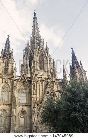 Barcelona (Catalunya Spain): facade of the gothic cathedral in gothic style