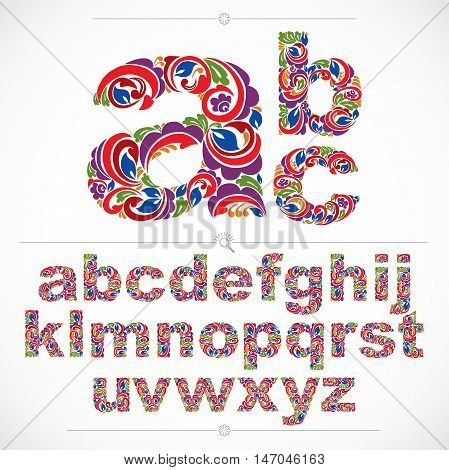 Ecology style flowery font vector typeset made using natural ornament. Colorful alphabet lowercase letters created with spring leaves and floral design.