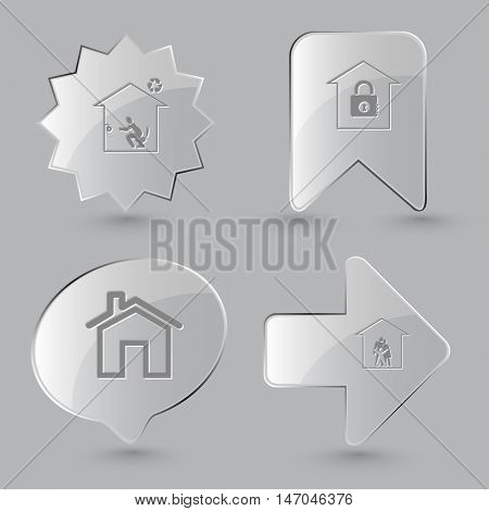 4 images: home toilet, bank, family. Home set. Glass buttons on gray background. Vector icons.