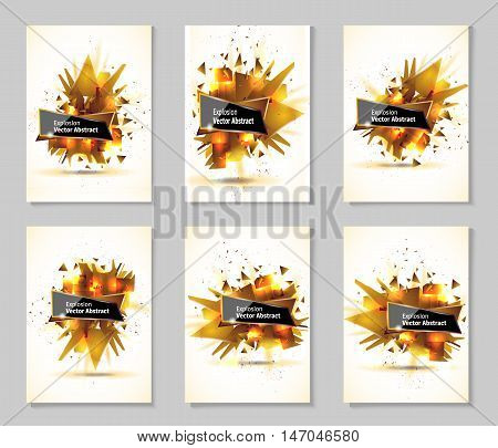 Vector illustration, abstract object, explosion gold substance matter. Abstract object with the image of the explosion.
