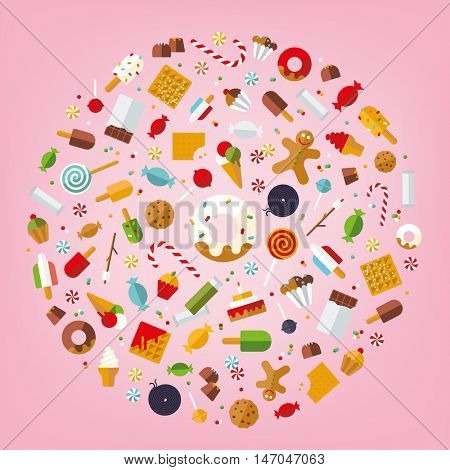 Multiple of candy, sweets, cookies and cakes icons arranged in circle on pink background, flat design