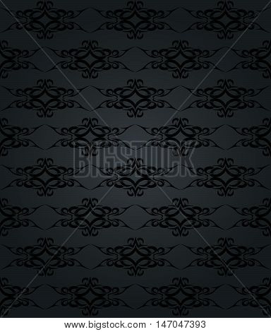 Abstract black floral seamless background. Vector illustration