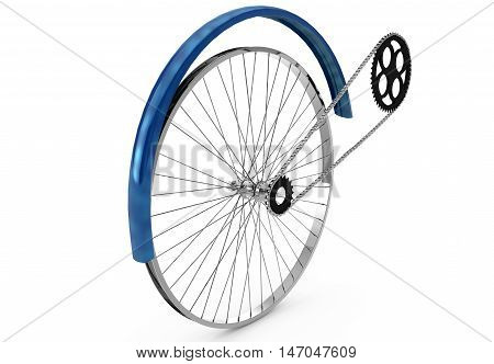 drive the wing and the chain of a bicycle on a white background 3d render