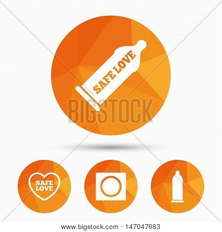 Safe sex love icons. Condom in package symbol. Fertilization or insemination. Heart sign. Triangular low poly buttons with shadow. Vector