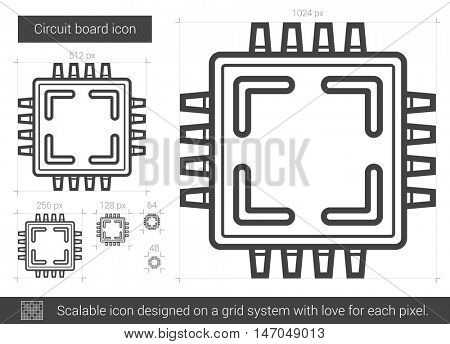 Circuit board vector line icon isolated on white background. Circuit board line icon for infographic, website or app. Scalable icon designed on a grid system.