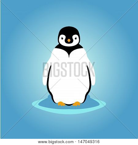 young penguin vector illustration style flat front side
