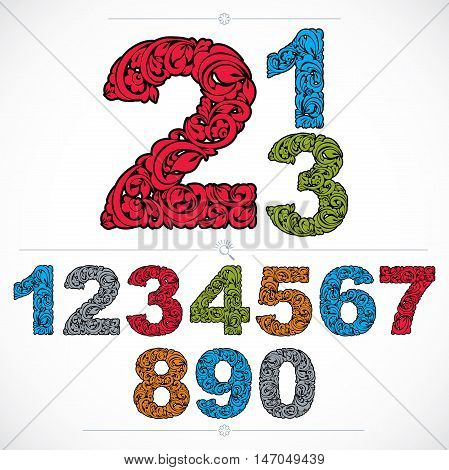 Floral numerals hand-drawn vector numbers decorated with botanical pattern. Colorful ornamental numeration digits made in vintage design.