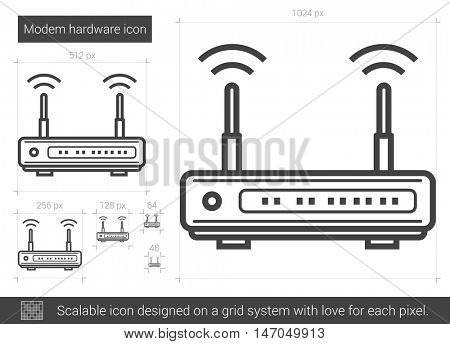 Modem hardware vector line icon isolated on white background. Modem hardware line icon for infographic, website or app. Scalable icon designed on a grid system.