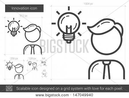 Innovation vector line icon isolated on white background. Innovation line icon for infographic, website or app. Scalable icon designed on a grid system.