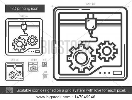 Three D printing vector line icon isolated on white background. Three D printing line icon for infographic, website or app. Scalable icon designed on a grid system.