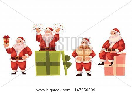 Set of Santa Claus and a box, cartoon style vector illustration isolated on white background. Santa Claus holding a present box, popping out of a box and sitting on a box, Christmas decoration element