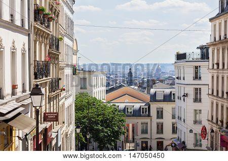 Paris France - July 06 2016: Beautiful Paris cityscape seen from Montmartre hill