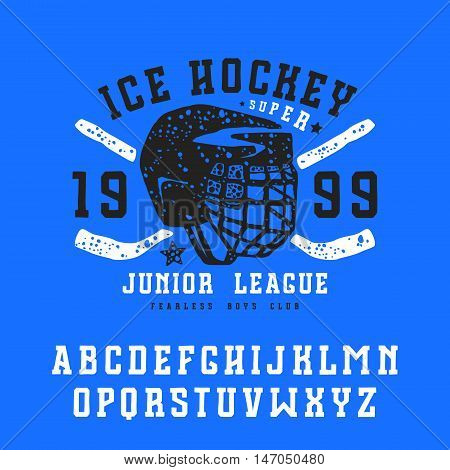 Slab serif font in the style of handmade graphics. Ice hockey club emblem for t-shirt. Print on blue background