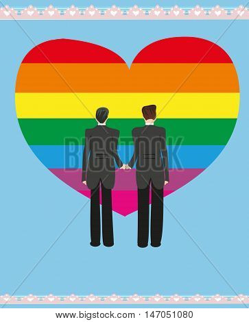Same sex marriage man couple poster card , vector illustration