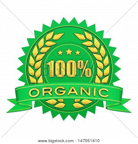 100 percent organic green and gold warranty label isolated on white , 3d illustration