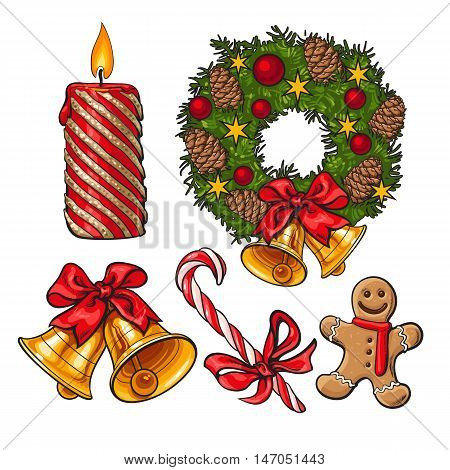 Set of traditional Christmas decoration objects, cartoon vector illustration isolated on white background. Christmas pine wreath, red candle, golden bells, candy and gingerbread man decorations